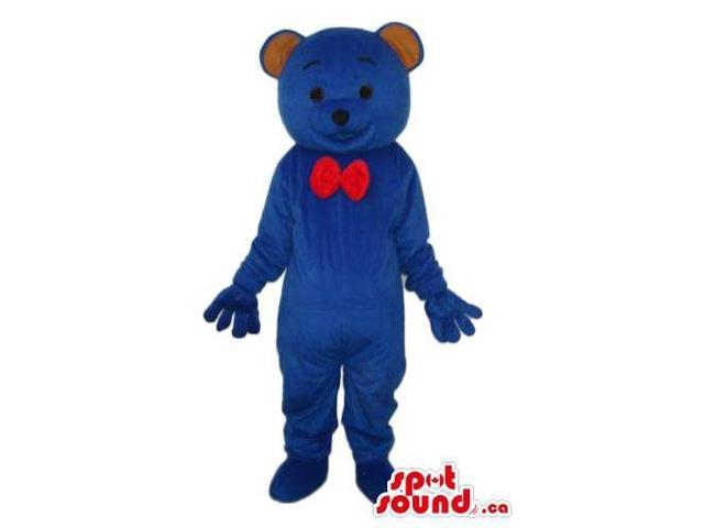 Cute Dark Blue Teddy Bear Plush Canadian SpotSound Mascot Dressed In A Red Bow Tie
