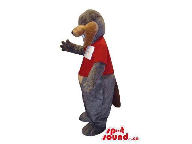 Grey And Brown Otter Animal Canadian SpotSound Mascot Dressed In A Red T-Shirt