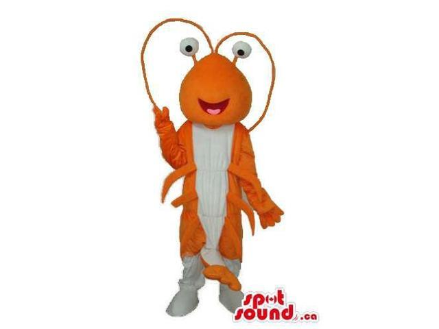 Orange And White Lobster Plush Canadian SpotSound Mascot With Peculiar Eyes