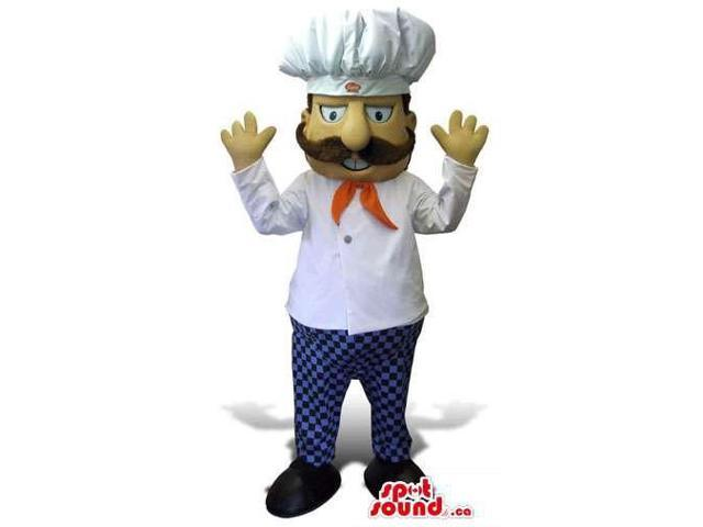 Chef Human Canadian SpotSound Mascot With A Moustache Dressed In A Chef Hat