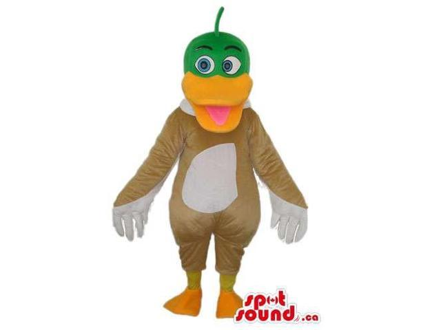 Cute Brown And White Duck Canadian SpotSound Mascot With A Green Head