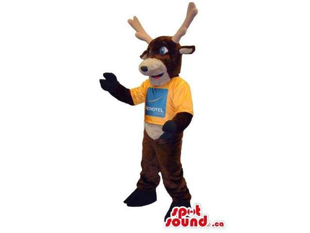 Brown And Beige Deer Canadian SpotSound Mascot Dressed In A T-Shirt With Logo