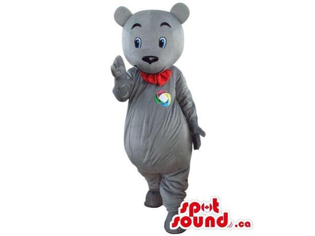 Grey Teddy Bear Plush Canadian SpotSound Mascot With A Red Collar And A Logo