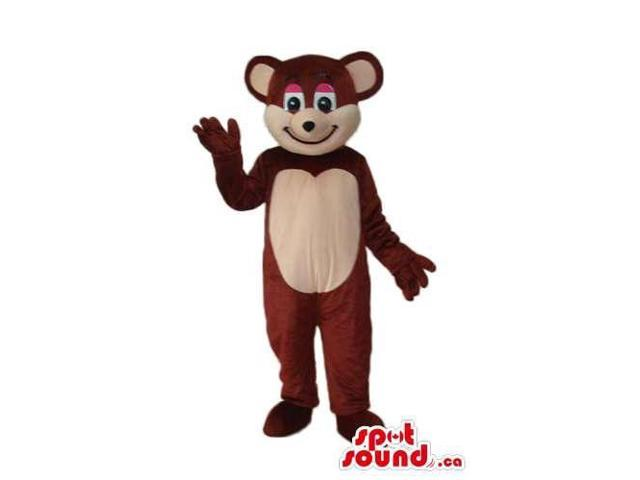 Dark Brown And Beige Teddy Bear Plush Canadian SpotSound Mascot With A Pink Eyelids