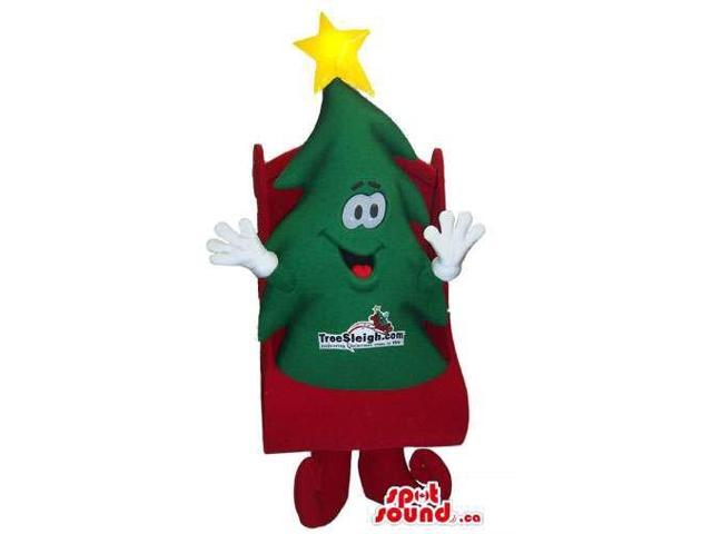 Cute Christmas Tree Canadian SpotSound Mascot On A Red Sleigh With A Logo