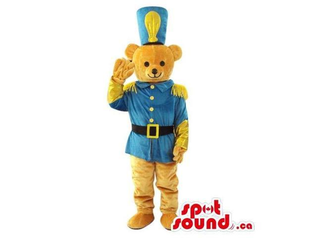 Brown Teddy Bear Plush Canadian SpotSound Mascot Dressed In A Blue Soldier Uniform