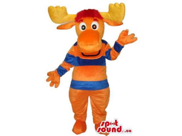Orange Moose Animal Canadian SpotSound Mascot With Striped Blue And Orange T-Shirt
