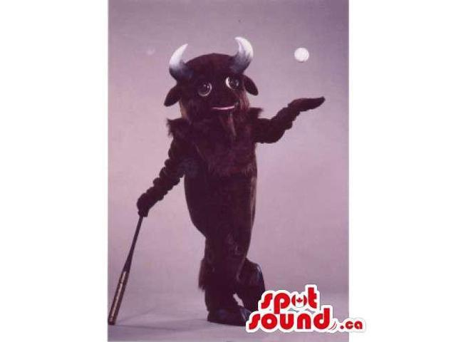 Brown Bull Animal Canadian SpotSound Mascot With Horns And A Baseball Bat
