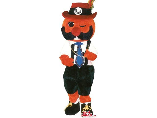 Character Canadian SpotSound Mascot Dressed In Tirol Clothes With A Large Moustache