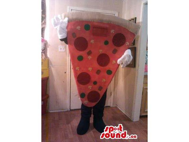 Large Pepperoni Pizza Slice Food Plush Canadian SpotSound Mascot With No Face