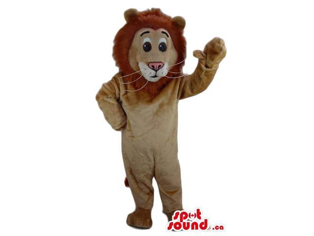Cute Beige Lion Plush Canadian SpotSound Mascot With Round Brown Hair