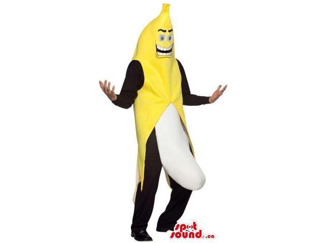 Yellow And White Suggestive Exhibitionist Banana Canadian SpotSound Mascot