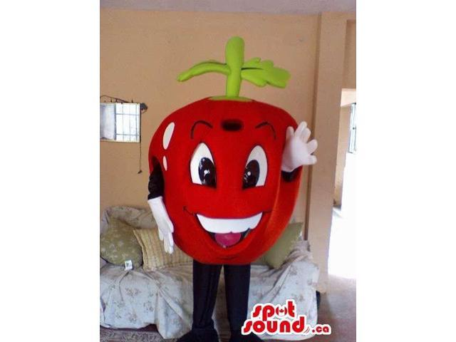 Red Apple Fruit Canadian SpotSound Mascot With Large Eyes And White Teeth
