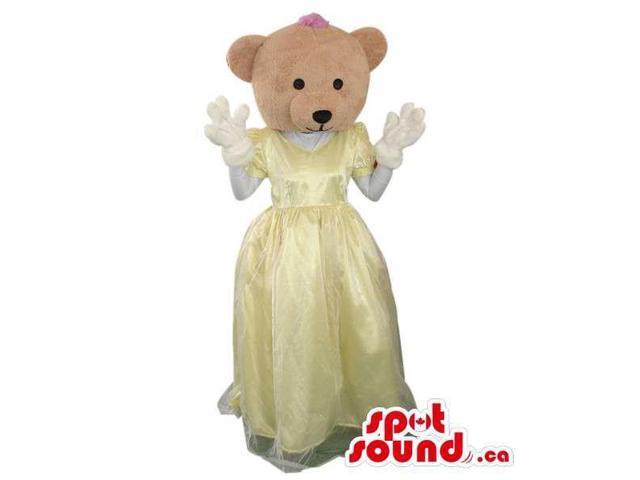 Beige Teddy Bear Girl Plush Canadian SpotSound Mascot Dressed In A Yellow Dress