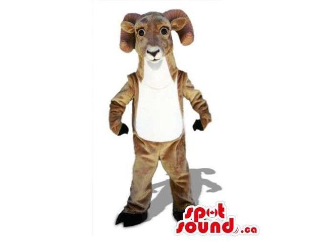 Brown And White Goat Animal Canadian SpotSound Mascot With Curled Horns