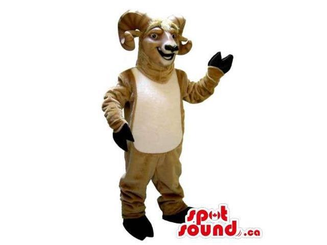 Brown Goat Animal Canadian SpotSound Mascot With Curled Horns And White Belly