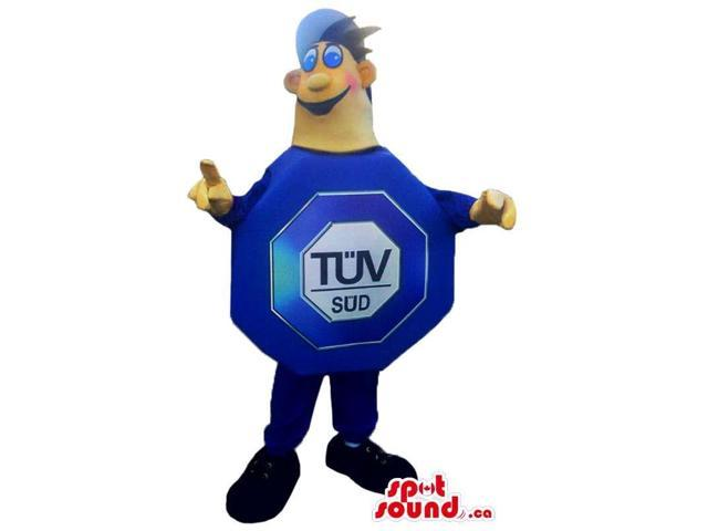 Boy Canadian SpotSound Mascot In A Large Blue Octagon Sign With Brand Name
