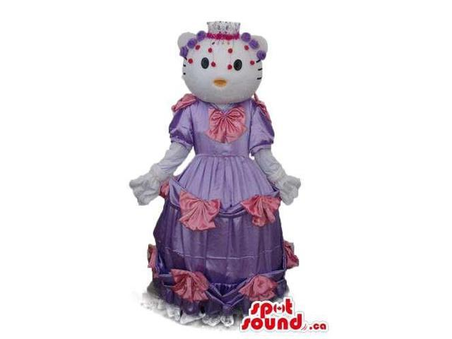 Kitty Cat Well-Known Cartoon Canadian SpotSound Mascot With A Long Purple Pink Dress