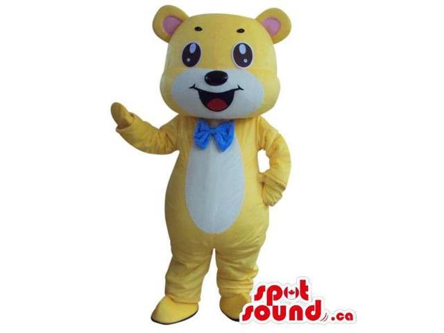 Fairy-Tale Cute Yellow And White Teddy Bear Plush Canadian SpotSound Mascot
