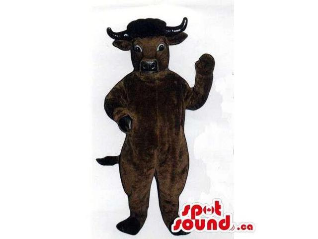 All And Customised Brown Bull Animal Canadian SpotSound Mascot With Black Horns