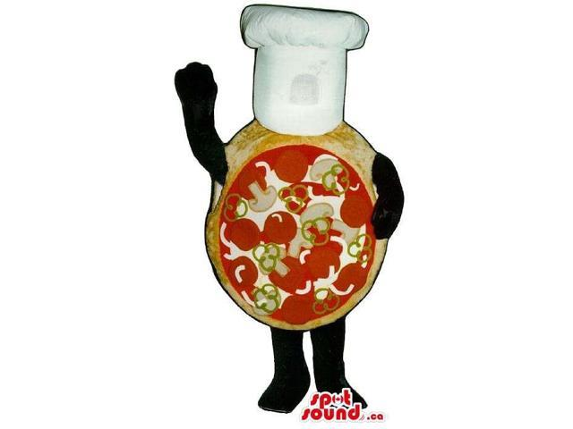 Real-Looking Pizza Plush Canadian SpotSound Mascot Dressed In A Chef Hat With No Face