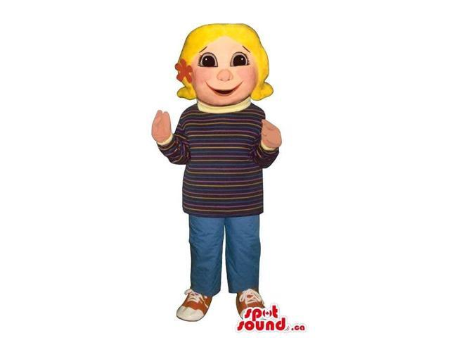 Cute Blond Girl Canadian SpotSound Mascot Dressed In A Customised Top And Jeans