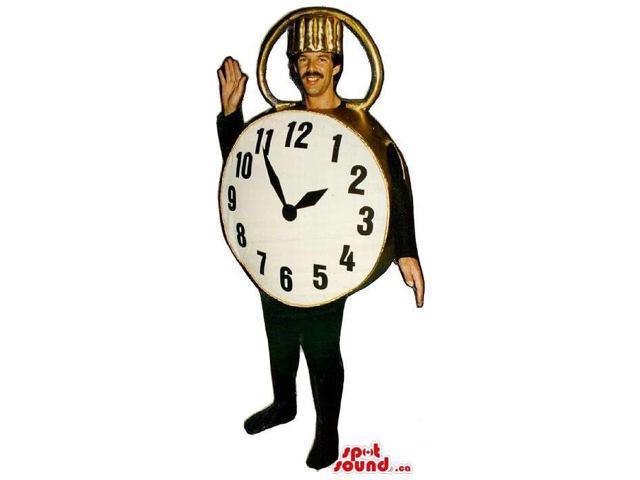Large Golden Pocket Clock Adult Size Costume Or Canadian SpotSound Mascot