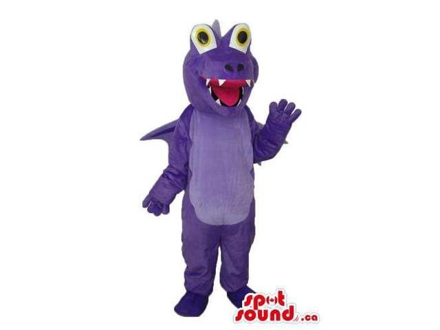 All Purple Dragon Plush Canadian SpotSound Mascot With Peculiar Round Eyes