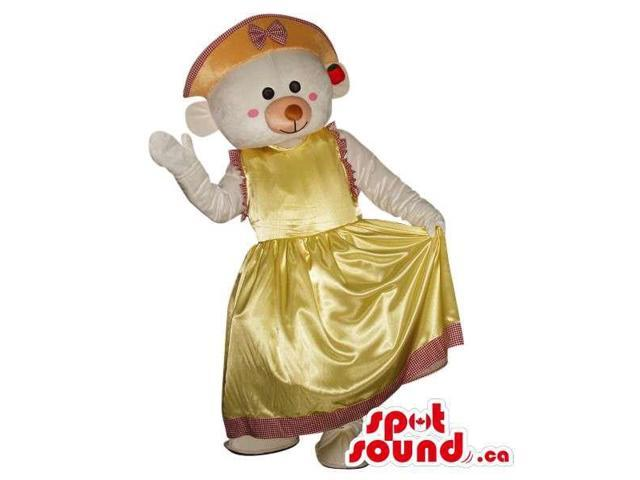 White Teddy Bear Girl Plush Canadian SpotSound Mascot Dressed In A Yellow Dress