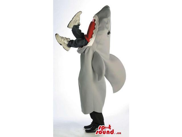 Original Grey Shark Plush Canadian SpotSound Mascot Eating A Human Body