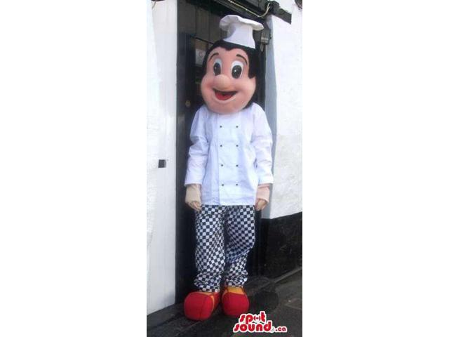Human Canadian SpotSound Mascot Dressed In Black And White Chef Gear