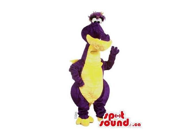 Cute Purple And All Yellow Alligator Plush Canadian SpotSound Mascot With A Peculiar Face