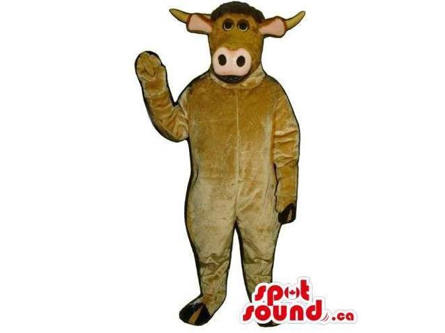 Customised All Brown Cow Canadian SpotSound Mascot With A Pink Nose And Ears