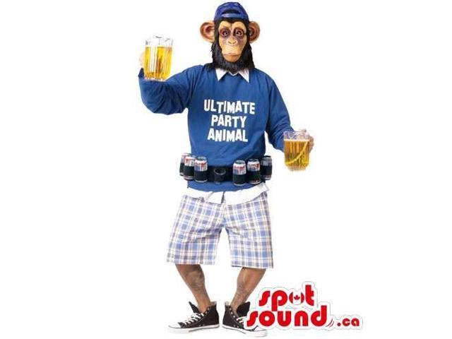 Chimpanzee Adult Size Costume Dressed In Gear And Carrying Beers