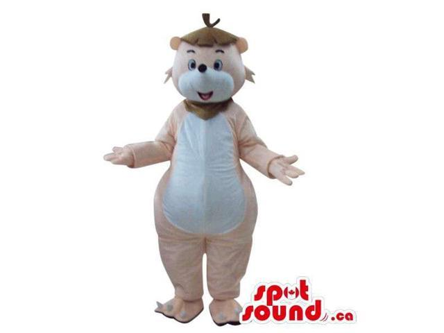 Beige Bear Plush Canadian SpotSound Mascot With A Large White Belly, Dressed In A Hat