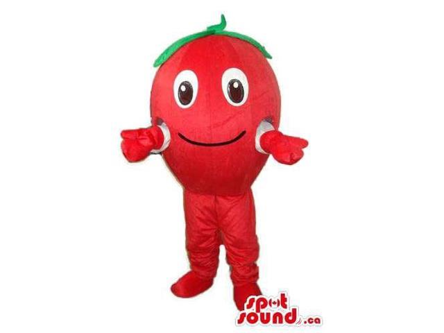 Cute Red Apple Fruit Plush Canadian SpotSound Mascot With Happy Face