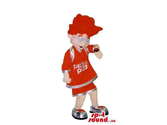 Boy Canadian SpotSound Mascot With A Red Hairdo Dressed In Gear With Text And Watch