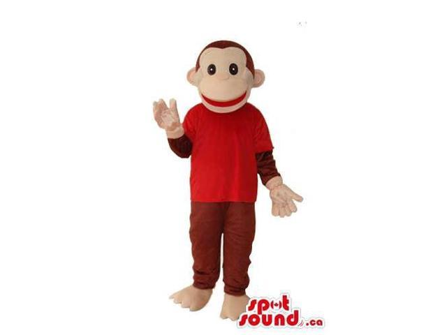 Brown Monkey Animal Plush Canadian SpotSound Mascot Dressed In A Red T-Shirt