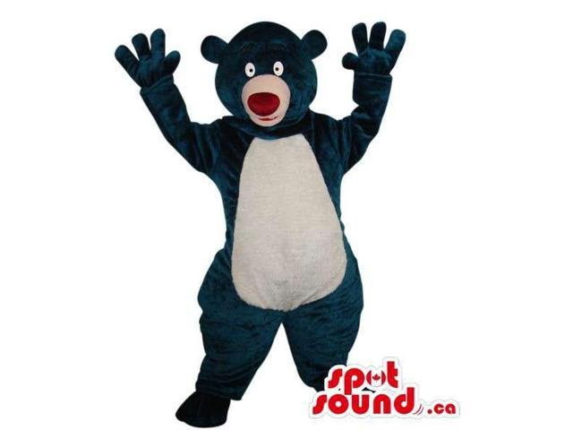 Fairy-Tale Black And White Teddy Bear Plush Canadian SpotSound Mascot With A Red Nose