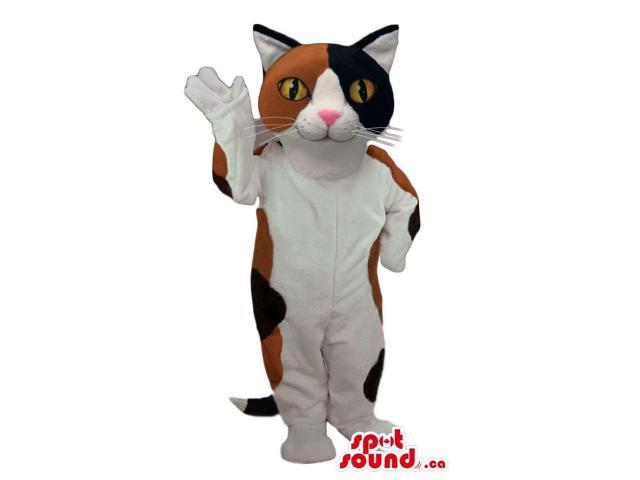 Cute White Cat Plush Canadian SpotSound Mascot With Brown And Black Spots