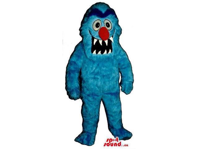 Blue Monster Plush Canadian SpotSound Mascot With A Large Red Nose And Sharp Teeth