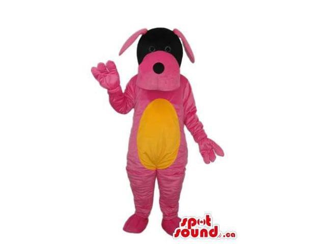 Cute Pink Dog Plush Canadian SpotSound Mascot With A Black Face And Yellow Belly