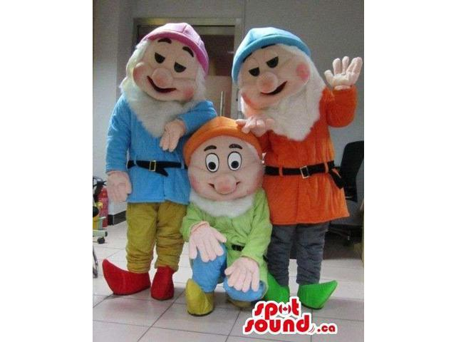 Three Snow White And The Seven Dwarfs Character Canadian SpotSound Mascots