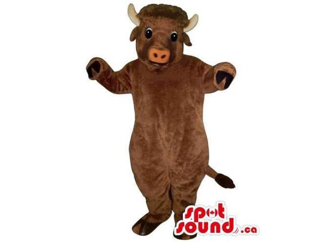 Cute Customised All Brown Cow Animal Canadian SpotSound Mascot With Pink Nose