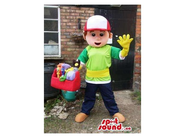 Boy Human Canadian SpotSound Mascot With Cap And Green T-Shirt And Yellow Gloves