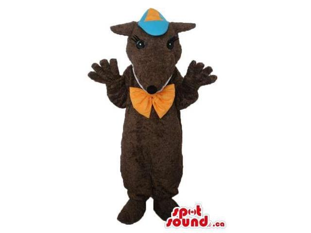 Dark Brown Mouse Plush Canadian SpotSound Mascot With Blue And Orange Cap