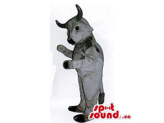 Customised Grey Bull Animal Canadian SpotSound Mascot With Black Horns