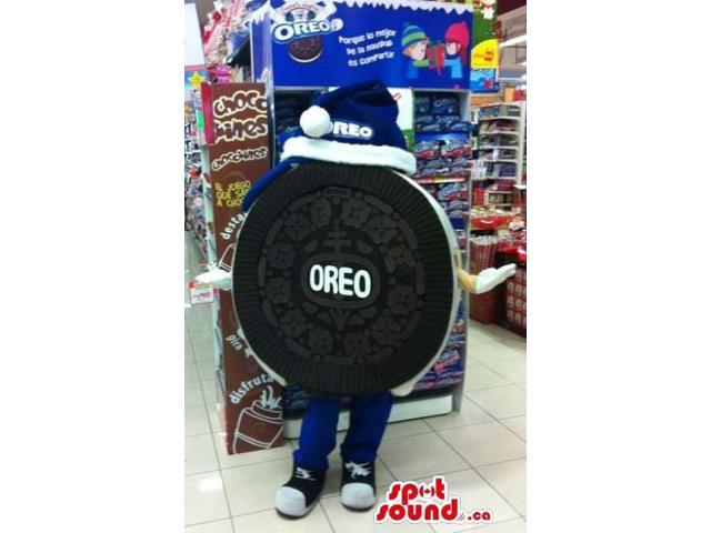 Customised Oreo Cookie Canadian SpotSound Mascot With Blue And White Hat