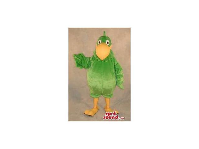 Large Green Bird Plush Canadian SpotSound Mascot With A Large Yellow Beak