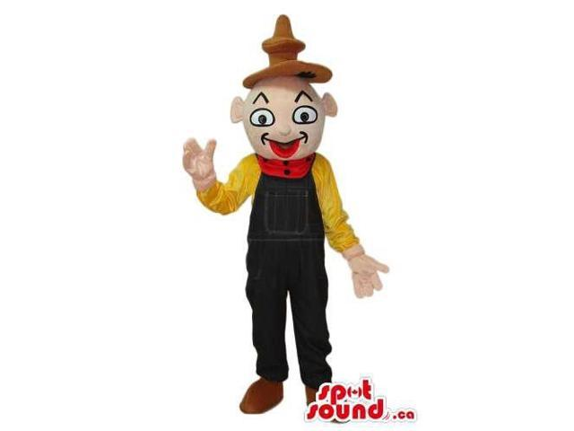 Oriental Boy Plush Canadian SpotSound Mascot Dressed In A Brown Hat And Overalls